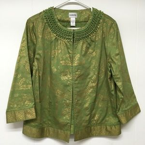 Chico's Jacket Size 8 Green Gold Embellished Neck